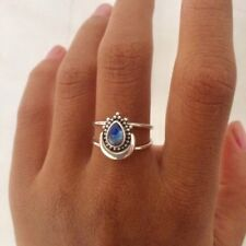 Rainbow Moonstone Ring   Bali Silver Summer Ring