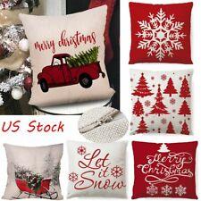 """1-2Pcs 18"""" Merry Christmas Linen Xmas Throw Pillow Case Cover Cushion Sofa Decor"""
