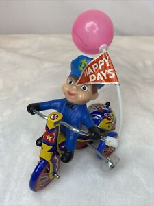 Antique Toy Happy Days Police Tricycle Balloon 1950'S Tin Wind Up
