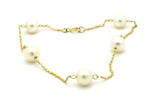 14K Yellow Gold Bracelet With Cultured Freshwater Pearls 7 Inches