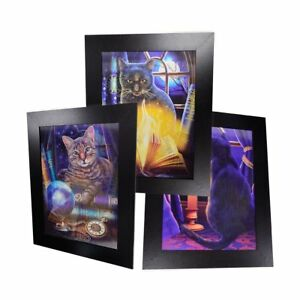 3 Dimension 3D Lenticular Picture Wood Frame Magical Mystic Cats Moon Night