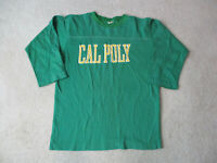 VINTAGE Cal Poly Long Sleeve Shirt Adult Medium Green Yellow Football Mens 80s *