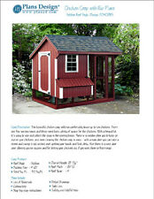 Chicken Coop / Hen House 4 ft x 8 ft Saltbox Roof Style Project Plans, 70408RS