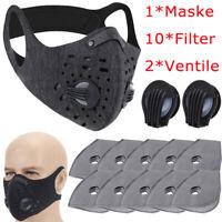 Gesichtsmaske 2X Atmenventil 10X Filter Wiederverwendbar Waschbar Atmungsaktiv