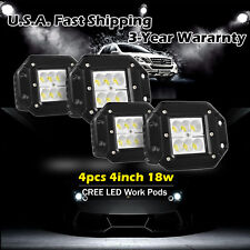 4X 4inch CREE LED Work Dually Flush Mount Lights Cube Pods Offroad Truck SUV UTE