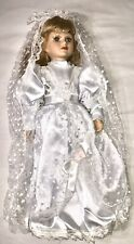 'Hilde' Porcelain Doll Bride Long Gown Veil Pearls Greensboro Collection.