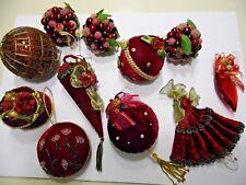 Lot of 11 Christmas Ornaments Burgundy Velvet ~Berries, Ribbons, Beads~Victorian