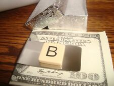 """"""" B """" MONOGRAM INITIAL faux Ivory Stainless Steel-Metal Money Clip wGift Box"""