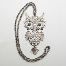 Vintage Owl Pendant Dangle Eyes Large Articulating