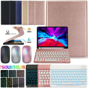 """iPad 5/6/7/8th Air 4th Pro 11"""" 2021 Case with Backlit Bluetooth Mouse Keyboard"""