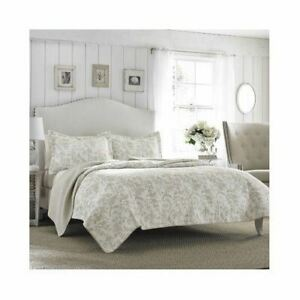 Beige Tan White Floral Toile 3 pc Cotton Quilt Set Twin Full Queen King Bedding