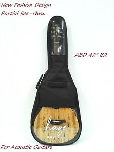 New Fashion Design Haze Partial See-Thru.Acoustic Guitar Gig Bag,Black ABD 42B2