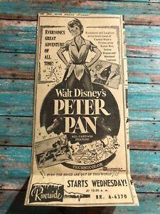 "1950's Walt Disney's ""Peter Pan"" movie print ad 7.5x3.5"""