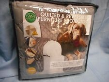 FUR HAVEN QUILTED REVERSIBLE FURNITURE CHAIR PROTECTOR COVER GRAY NEW
