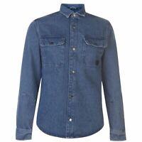 Jack and Jones Champ Full Length Sleeve Worker Shirt Mens Gents Denim Cotton