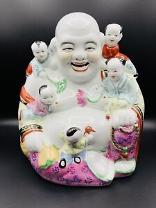 Vintage Chinese Porcelain Laughing Buddha With Five Children Statue Signed Stamp