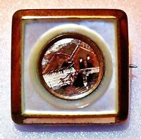 18K Gold Etched Early Victorian Pin (Pinchbeck & MOP Encased) C-Clasp w Bar Hing