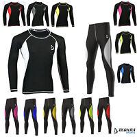 Deckra Mens Compression Armour Base Layer Top Skin Fit Shirt legging Set