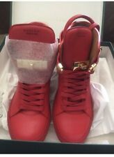 BUSCEMI WOMENS RED LEATHER SNEAKERS ALTA 100MM 37 NIB!