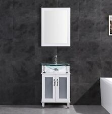 """24"""" Vanity Cabinet with Sink Glass Top and Mirror White by LessCare"""
