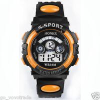 Waterproof Mens Boys Digital LED Quartz Alarm Date Sports Wrist Watch Orange