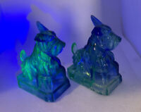Vintage Cobalt Blue Vaseline Glass Scottie Dogs Set of 2