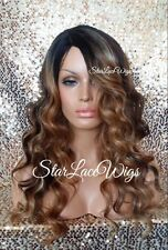 Curly Body Wave Lace Front Wig Brown Auburn Blonde Ombre Mix Highlight Heat Safe