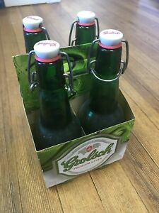 4 Grolsch Swing top 15.2 oz Beer Bottles w/ 4-pack Carrier SwingTop DIY Brewer