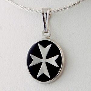 Amalfi Sterling Silver 925 Maltese Knights of Malta Cross Pendant w Black Enamel