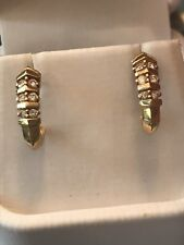 14k Yellow Gold 6 Diamons Hang Studs Earings With Backs