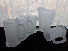 Tiara Indiana Glass 4 Satin Frosted Tankards Mugs & Pitcher Patio Beverage Set