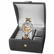 Women's Akribos  AK895TTG-BX Diamond Twist Chain Watch & Jewelry Gift Box Set