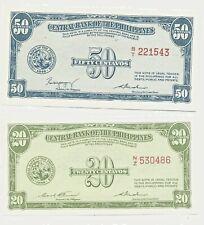 PHILIPPINES 20 CENTAVOS, 50 CENTAVOS UNCIRCULATED BANKNOTE CRISP 1939,1949 ISSUE