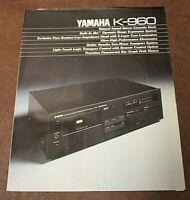 Yamaha K-960 Natural Sound Stereo Cassette Deck Original Sales Brochure