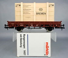 MARKLIN 1 GAUGE 5437 FREIGHT CAR WITH WOODEN CONTAINER & NORDMENDE RADIO