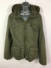 WOMENS MAX & CO KHAKI GREEN ZIP UP LIGHTLY PADDED FITTED HOODED JACKET COAT UK14
