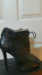 L.K.Bennett Black Leather Stiletto Peep toe Sandals 40 UK 7