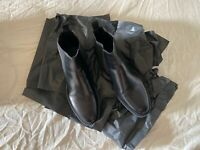 NWOB BRIAN CRESS SHOES 9 CALF BLACK CHELSEA  BOOTS RUBBER SOLE