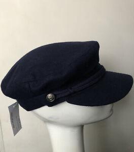 Topshop New Blue Wool Sailor Fiddler Baker Boy Hat Size Large