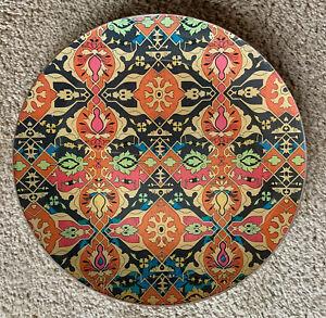 "Michel Design Works Lotus Decoupage Round Glass 10.75"" Serving Platter MINTY"