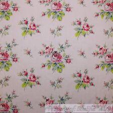 BonEful Fabric FQ Cotton Quilt VTG Light Pink Rose Flower Victorian Green Leaf S