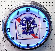 "17"" PABST BLUE RIBBON Beer Sign PBR Single Neon Clock"
