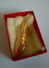 Small Golden Coloured Feather Vintage Brooch In Red Box