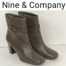Nine & Company Leather Womens Ankle Boots Size 8w Brown