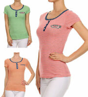 "New Women's Juniors Henley Striped ""I Believe in Angels"" Summer Knit Top"