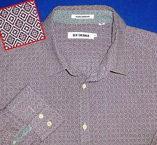 4 XL BEN SHERMAN BYZANTINE GEO JACQUARD PATTERN RED BLUE WHITE PRINT  MENS SHIRT