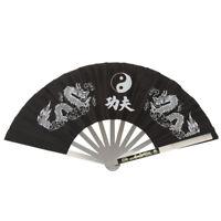 Steel Frame & Fabric Folding Chinese Kung Fu Martial Arts Tai Chi Dragon Fan