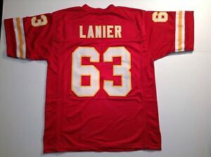 UNSIGNED CUSTOM Sewn Stitched Willie Lanier Red Jersey - M, L, XL, 2XL