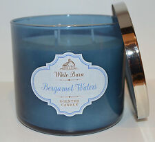 NEW BATH & BODY WORKS BERGAMOT WATERS SCENTED CANDLE 3 WICK 14.5 OZ LARGE BLUE