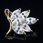 18k Gold GF Diamond simulant butterfly brooch pin